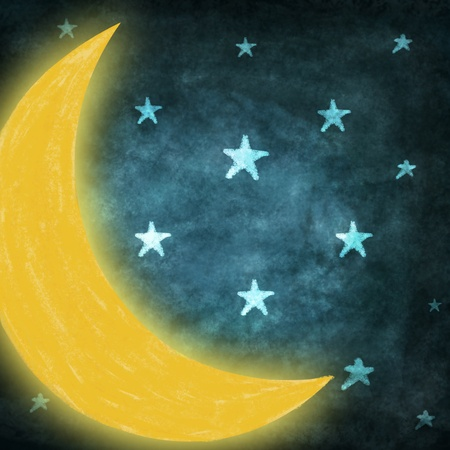 night time with stars and moon drawing  Stock Photo - 13126487