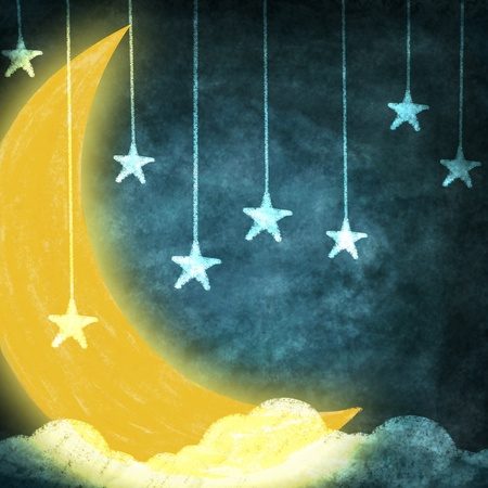 old moon: night time with stars and moon drawing Stock Photo
