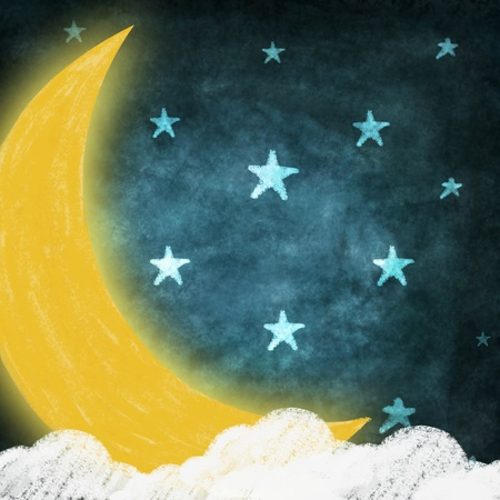 night time with stars and moon drawing Imagens