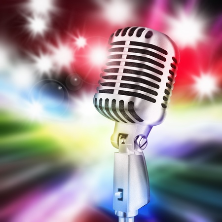 stage lighting: microphone in stage lighting background