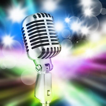microphone in stage lighting background photo