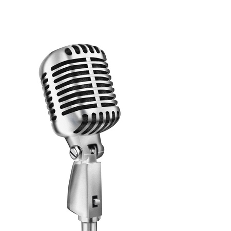 vintage microphone: single retro microphone isolated on white background