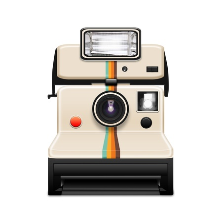 instant camera with a blank photo coming out