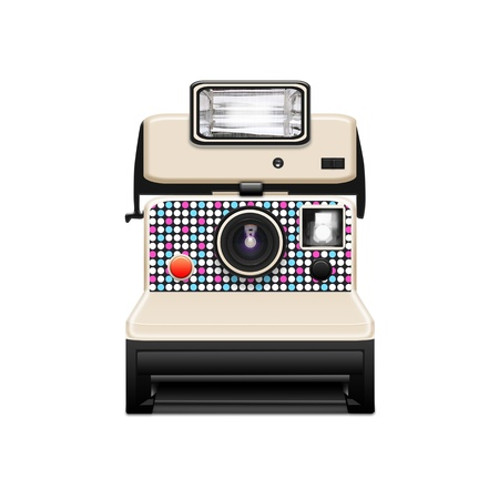 photographic camera: instant camera with a blank photo coming out