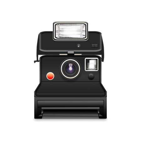 instant camera with a blank photo coming out photo