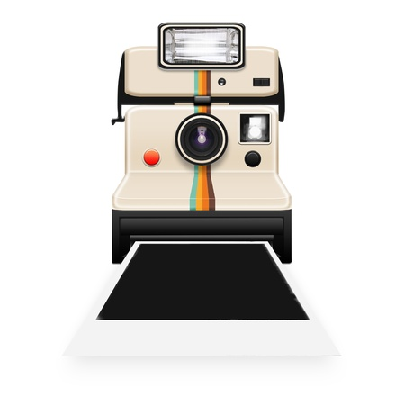 retro camera: instant camera with a blank photo coming out