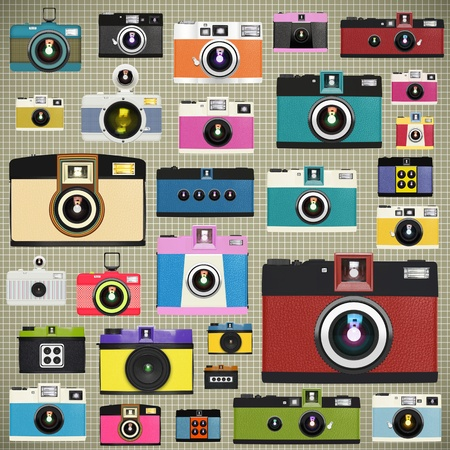 camera patroon, retro en vintage stijl
