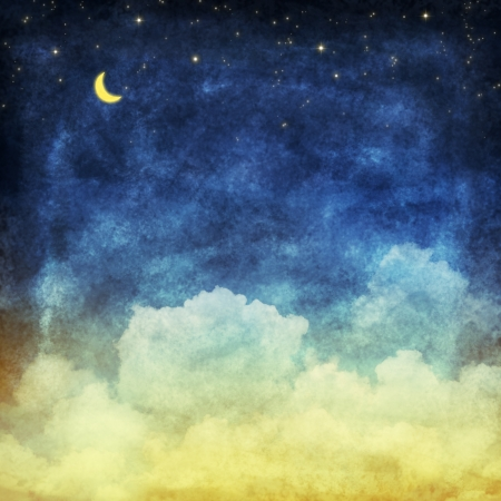 noche y luna: nubes y el cielo por la noche, de fondo amarillo y azul