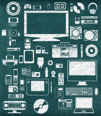 gadgets icon drawing on chalkboard photo
