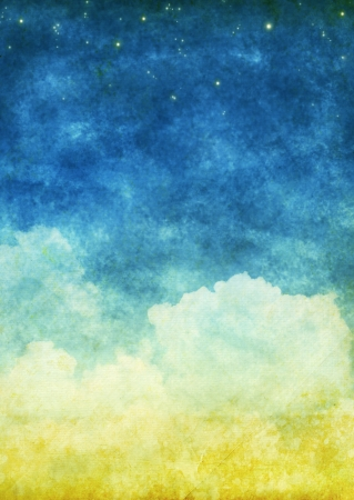 cloud and sky on an old grunge paper Stock Photo - 13701878