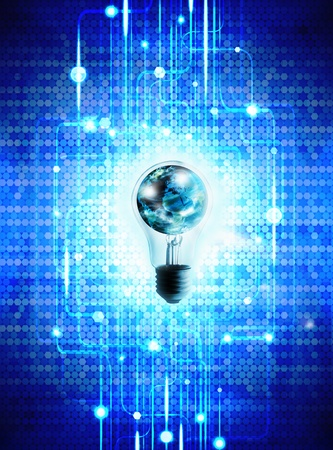 globe and light bulb ,technology background photo