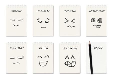 cronograma: calendario semanal con el dibujo de la cara, el concepto de trabajo de rutina