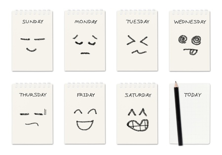 days of week: weekly calendar with face drawing  ,routine work concept Stock Photo