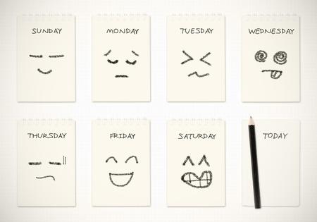 calendario escolar: calendario semanal con el dibujo de la cara, el concepto de trabajo de rutina