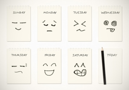 weekly calendar with face drawing  ,routine work concept Standard-Bild