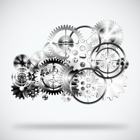 cloud made by gears wheels ,industrial background