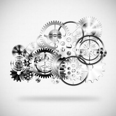 mecanica industrial: nube hecha por las ruedas de engranajes, de fondo industrial