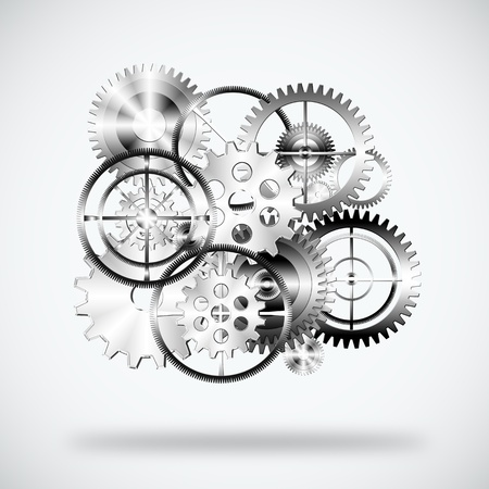 cooperate: set of gears wheels ,industrial background