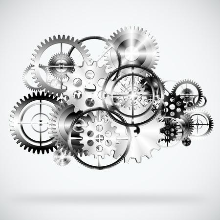 rueda dentada: un conjunto de engranajes, ruedas de fondo industrial