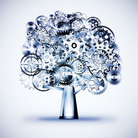 tree of industrial design by gears wheels ,industrial concept