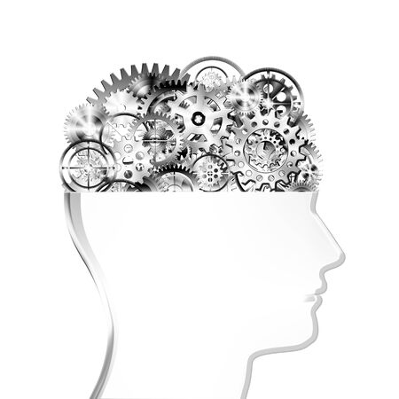head gear: brain design by cogs and gear wheel ,creative concept