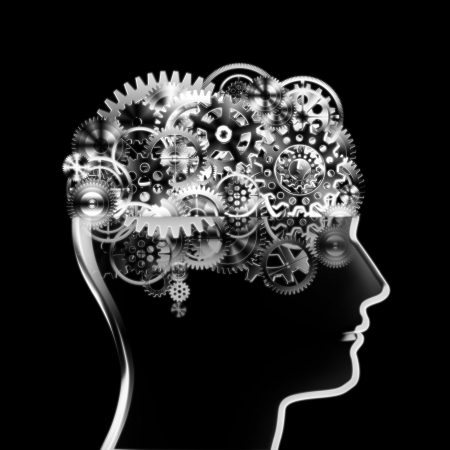 meshed: brain design by cogs and gear wheel ,creative concept