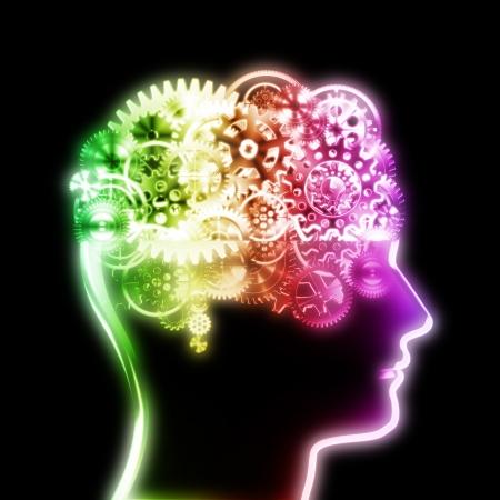 la conception du cerveau par les rouages ??et les engrenages des roues, concept créatif