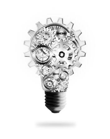 id�e lumineuse: conception de l'ampoule de lumi�re par les rouages ??et les engrenages, le concept id�e cr�ative Banque d'images
