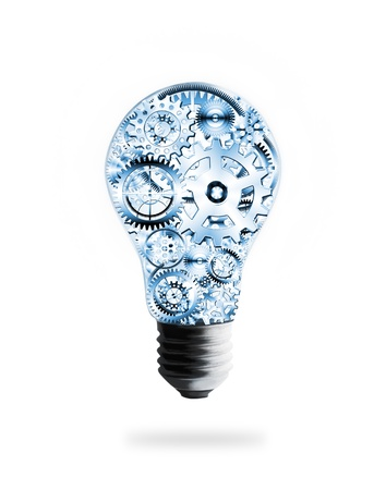 metal light bulb icon: light bulb design by cogs and gears , creative idea concept