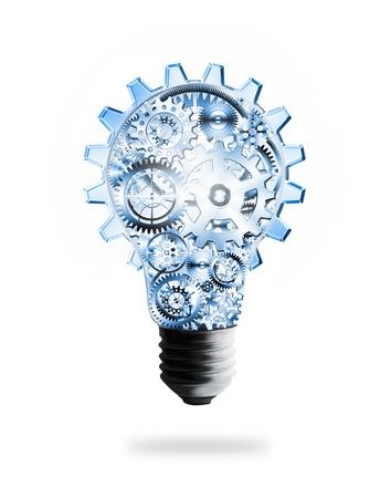 pensamiento creativo: dise�o de la bombilla por ruedas dentadas y engranajes, el concepto de idea creativa