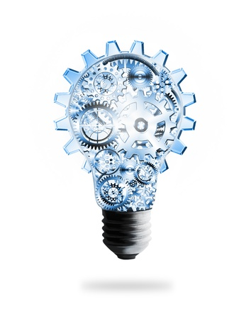 factory power generation: light bulb design by cogs and gears , creative idea concept