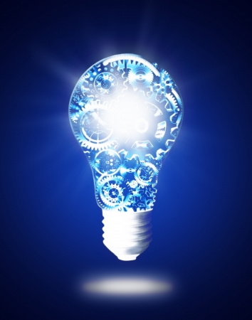 electricidad industrial: diseño de la bombilla por ruedas dentadas y engranajes, el concepto de idea creativa