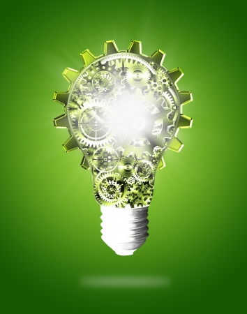 light bulb idea: light bulb design by cogs and gears , creative idea concept