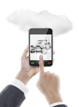 businessman pressing smart phone ,cloud computing photo