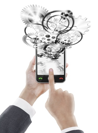 businessman pressing smart phone ,industrial and technology concept photo
