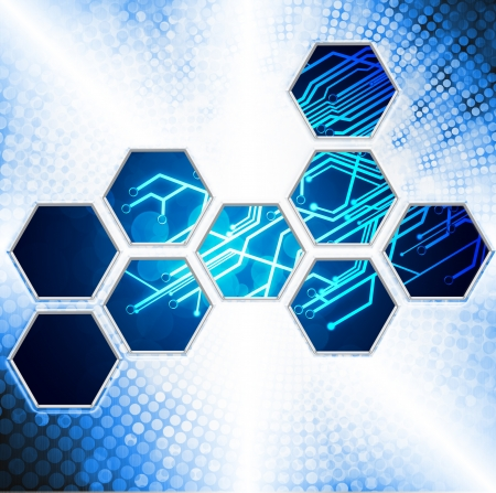 abstract technology background with hexagon shape photo