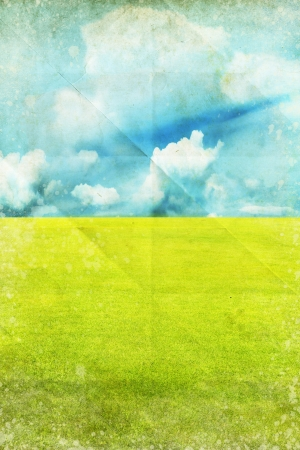 green field and blue sky ,spring summer background photo