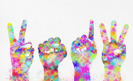 saturate: Happy new year 2013 ,colorful painting of hands Stock Photo