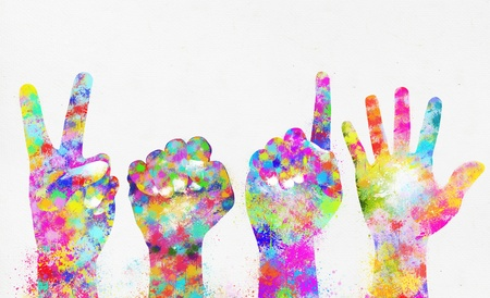Happy new year 2015 ,colorful painting of hands photo