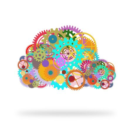 meshed: cloud design by gears and cogs Stock Photo
