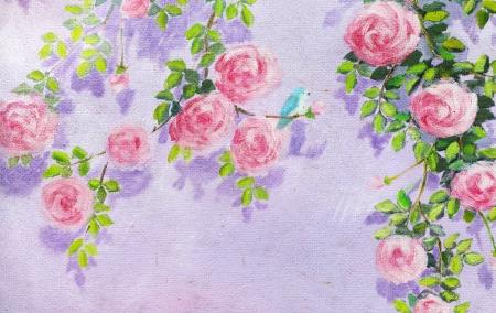 rosas y la pintura del pájaro en papel