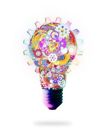 creativity: световой дизайн лампу, винтики и шестерни, креативная концепция идеи