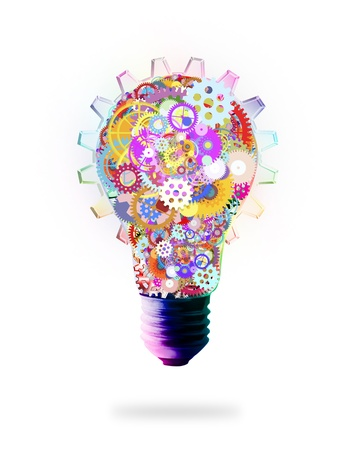 solutions: light bulb design by cogs and gears , creative idea concept