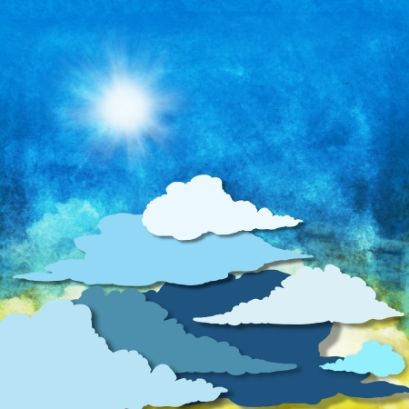 cloud and sky ,yellow and blue background photo