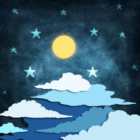 night time with stars and moon drawing Stock Photo - 14800606