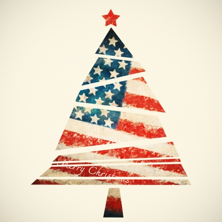 christmas card ,christmas tree ,America flag photo