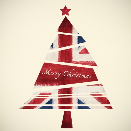 christmas card ,christmas tree ,English flag photo