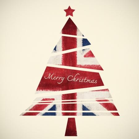 christmas card ,christmas tree ,English flag