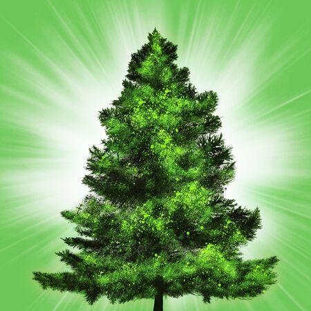 painting of christmas tree with ray lighting Stock Photo - 15320229