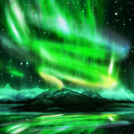 northern lights ,aurora borealis ,dramatic landscape Stock Photo - 15524591